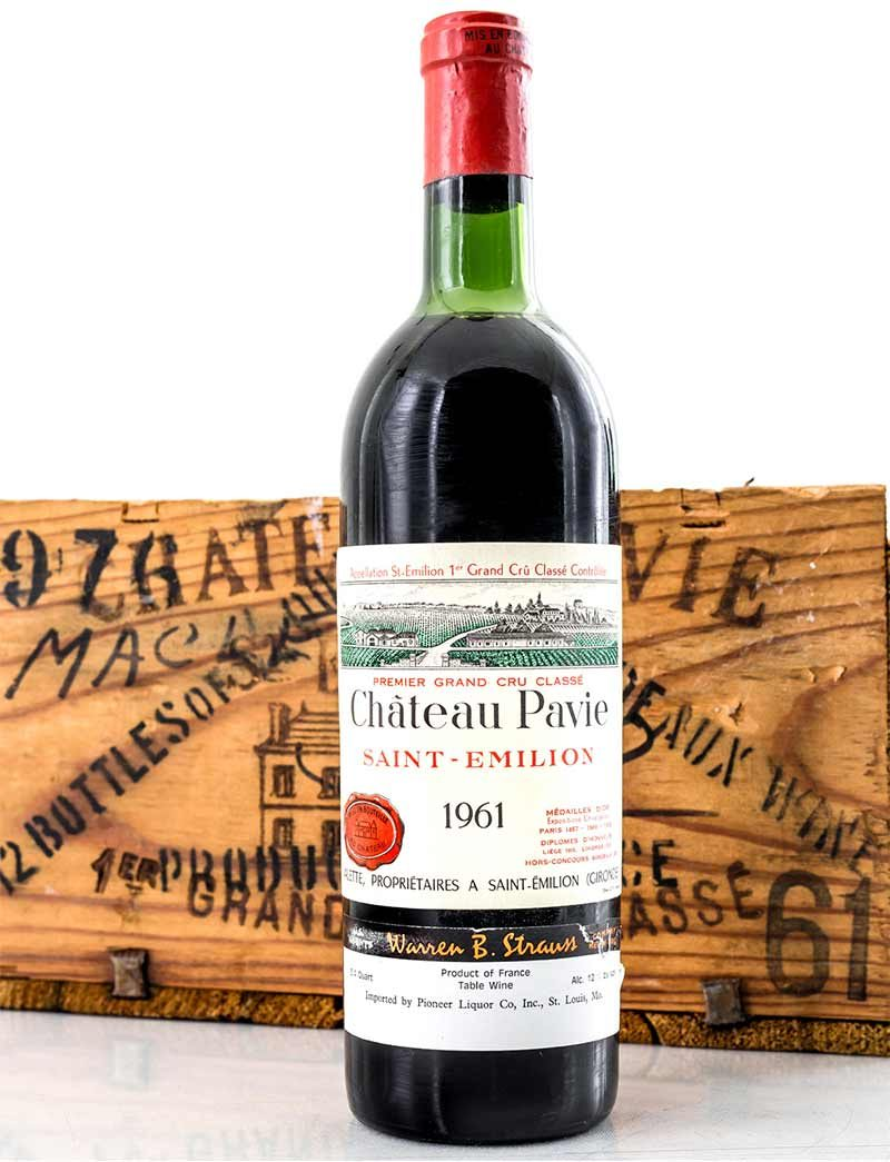 Lot 28: 9 bottles 1961 Chateau Pavie in OWC