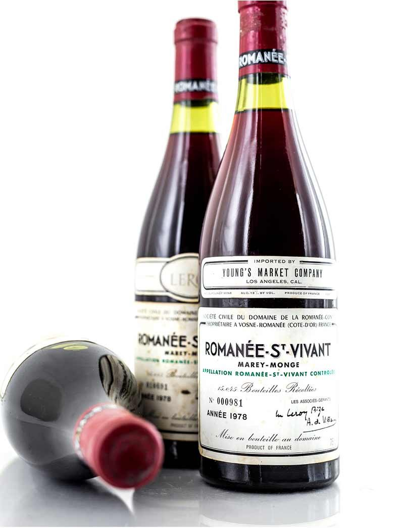 Lot 60: 3 bottles 1978 DRC Romanee St. Vivant