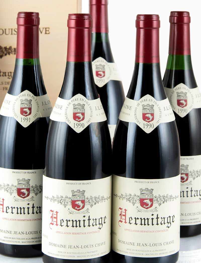 Lot 897, 898: 3 bottles each 1990 and 1991 J.L. Chave Hermitage in OWC