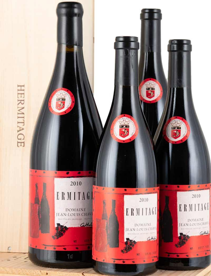 Lot 908, 910: 3 bottles and 1 magnum 2010 J.L. Chave Ermitage Cuvee Cathelin in OWC