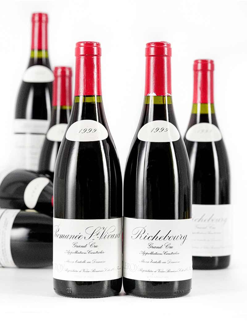 Lot 931, 933: 1999 Domaine Leroy 2 bottles Richebourg and 5 bottles Romanee St. Vivant