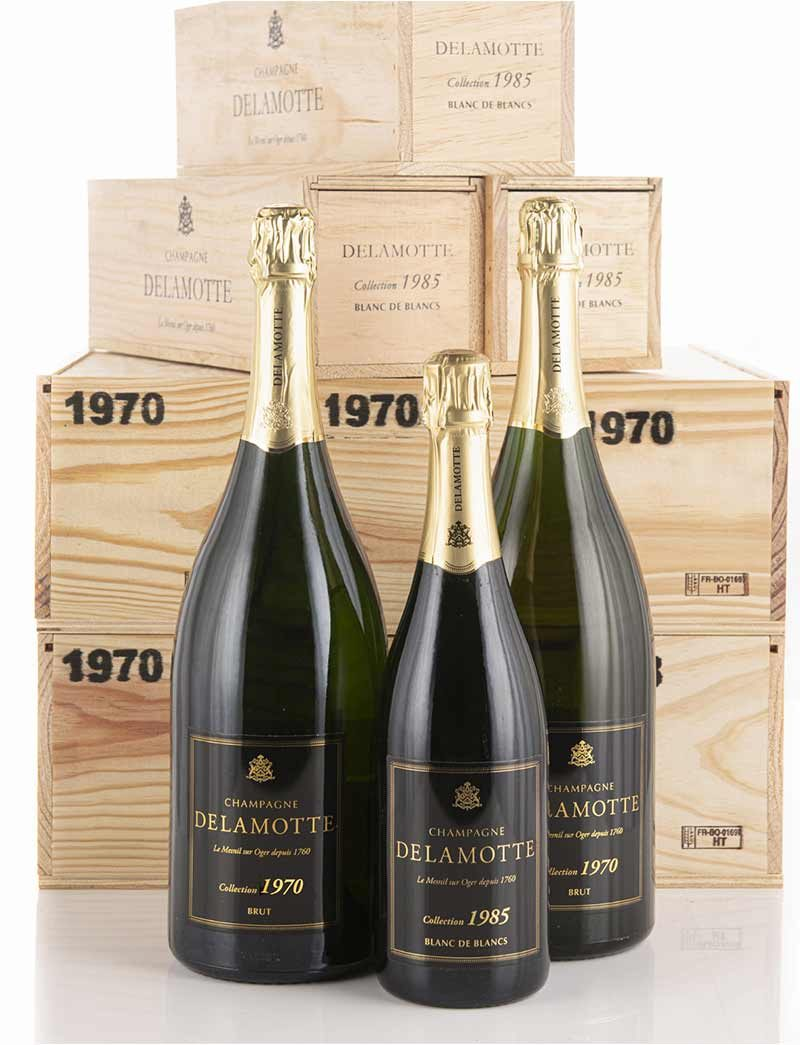 Lot 987, 988: 6 magnums 1970 and 12 bottles 1985 Delamotte Champagne Collection in OWCs